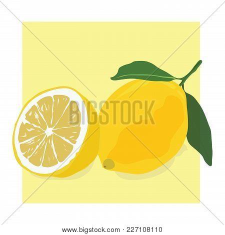 Fresh Ripe Lemons On Yellow Background, Vector Illustration Eps 8