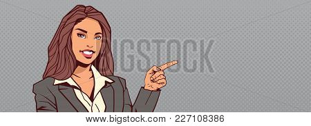 Businesswoman Point Finger To Background With Copy Space Horizontal Banner Happy Smiling Business Wo
