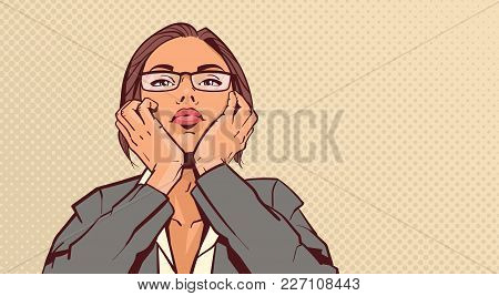 Portrait Of Attractive Business Woman Holding Head On Hands Over Pop Art Pinup Background Retro Styl