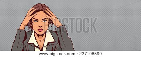 Portrait Of Sad Business Woman Holding Head Businesswoman Stressed Horizontal Banner With Copy Space
