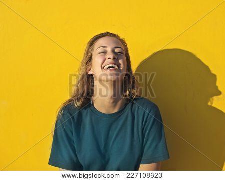 Laughing blonde woman
