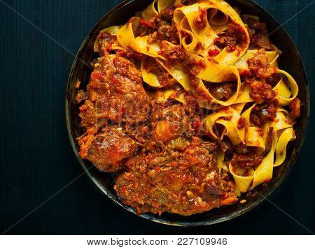 Close Up Of Rustic Italian Oxtail Ragu Pappardelle Pasta