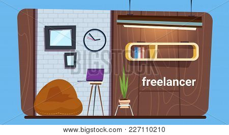 Empty Freelance Worker Workplace In Modern Creative Office Space Flat Vector Illustration