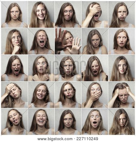 Different expressions on a girl's face