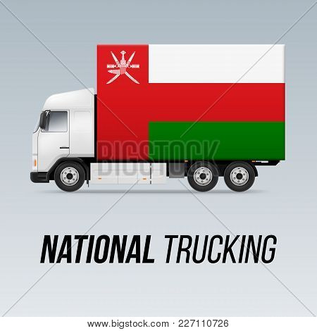 Symbol Of National Delivery Truck With Flag Of Oman. National Trucking Icon And Omani Flag