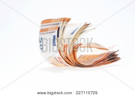 Many Fifty Euro Banknotes Isolated On White