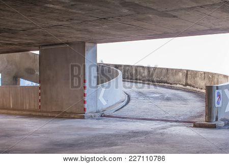 Concrete Road Ramp Parking Car Garage In Shopping Mall