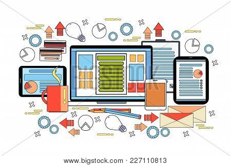 Workplace Desk Concept, Business Work Desktop With Laptop Computer, Diagrams And Documents On Digita