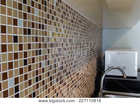 Colorful Mosaic Wall In Kitchen Room Of Hotel Room