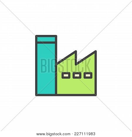 Factory Station Filled Outline Icon, Line Vector Sign, Linear Colorful Pictogram Isolated On White.