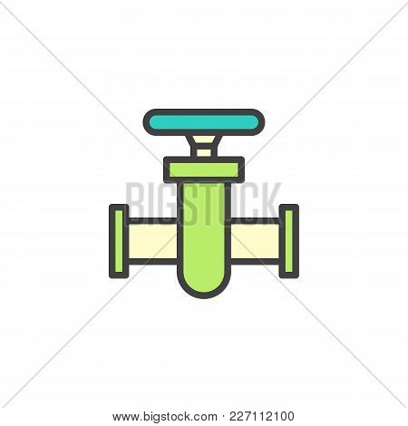 Pipe Connector Filled Outline Icon, Line Vector Sign, Linear Colorful Pictogram Isolated On White. P