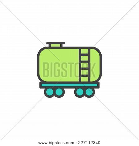 Railroad Tank Wagon Filled Outline Icon, Line Vector Sign, Linear Colorful Pictogram Isolated On Whi