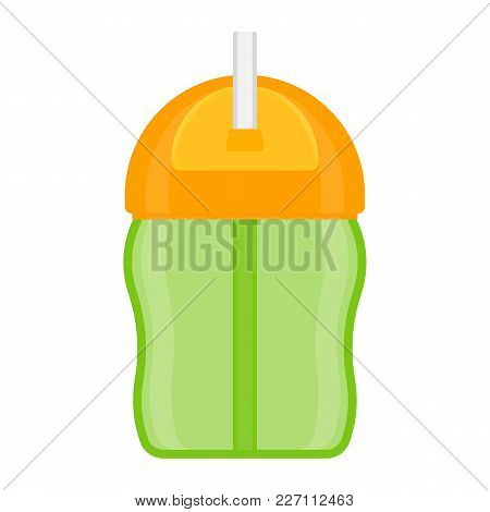 Baby Sippy Cup With Straw, Isolated On White Background. Vector Illustration Of Toddler Feeding Equi