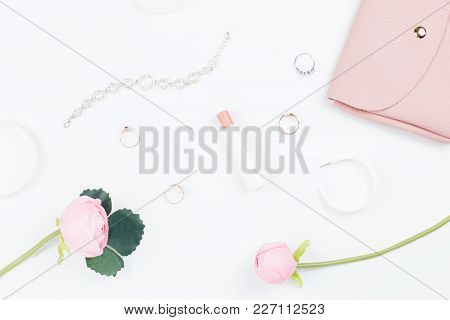 Woman Fashion Accessories Flat Lay On White, Fashion Blog Concept. Top View
