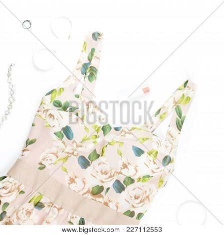 Woman Summer Dress, Accessories And Make Up Items On White Background. Summer Fashion Collection, To