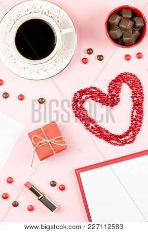 Coffee Cup, Sweets, Lipstick, Heart Shape And Giftbox On Pink Background. Women's Day Concept Flat L
