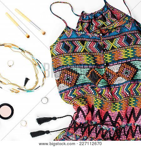 Woman Summer Clothes And Fashion Accessories. Colorful Jumpsuit, Sandals, Women Accessories, Make Up