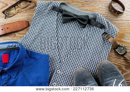 Men Clothes And Accessories Fashion Set. Vest, Bowtie, Shirt, Shoes On Wooden Background. Top View