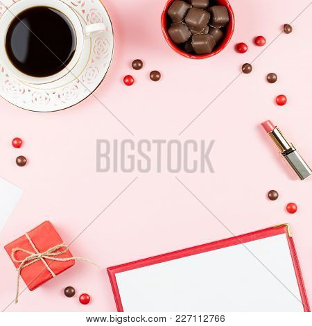 Coffee Cup, Sweets, Lipstick, Red Lipstick And Giftbox On Pink Background. Women's Day Concept Flat