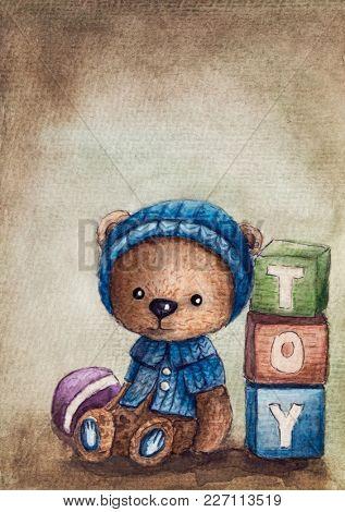 Watercolor illustration of a teddy bear