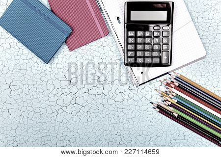 School Supplies, Stationery Accessories On Wooden Background