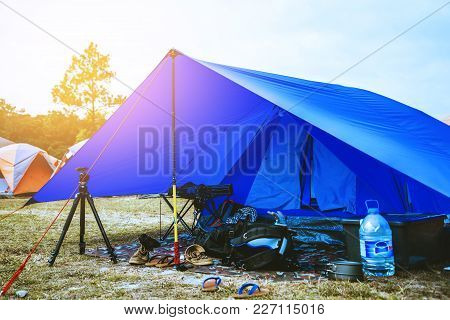 Travel Relax In The Holiday. Camping On The Mountain. Thailand
