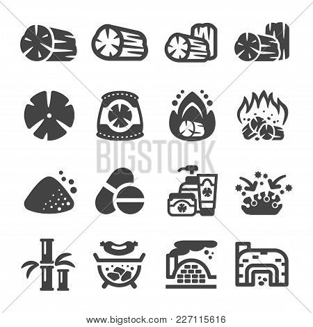 Charcoal And Product Icon Set Vector Illustration