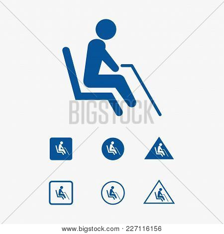 Priority Seat Icon Illustration For Grandparent Vector.