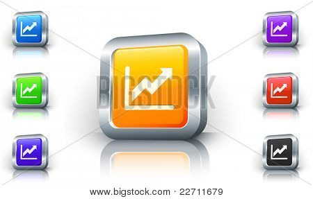 Stock Chart Icon on 3D Button with Metallic Rim Original Illustration