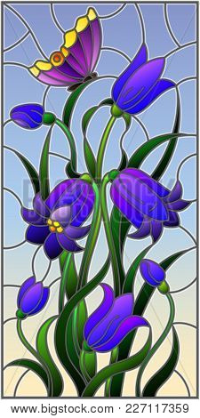 Illustration In Stained Glass Style With Leaves And Bells Flowers, Purple Flowers And Butterfly On S
