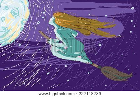 The Witch Flies On A Broomstick On The Night Sky And The Moon