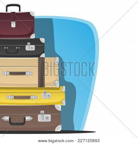 Five Retro Suitcases Standing On Top Of Each Other. Place For Text. Vector Illustration.