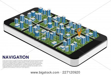 Smartphone 3d With A City And A Navigation Pointer On The White Background. Mobile Navigation. Urban