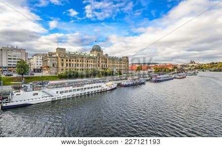 Prague, Czech Republic - October 10, 2017: River View On Ministry Of Transportation Of The Czech Rep