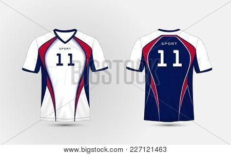 White, Blue And Red Pattern Sport Football Kits, Jersey, T-shirt Design Template