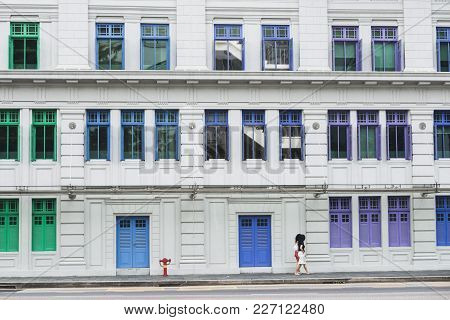 Blue, Green And Purple Window Frames Of Famous Old Hill Street Police Station In Singapore
