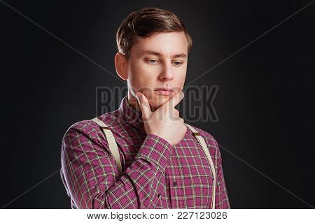 Portrait Of Thoughtful Serious Clever Scientific Man In Vintage Shirt Bow Tie With Hairstyle Keeping