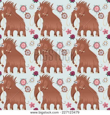 Cute Prehistoric Mammoth. Ice Age. Seamless Background Pattern. Vector Illustration
