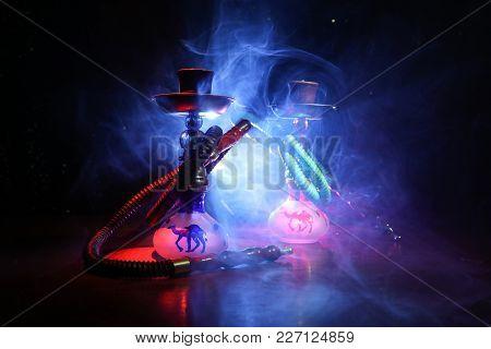 Hookah Hot Coals On Shisha Bowl With Black Background. Stylish Oriental Shisha. Shisha Concept. Sele