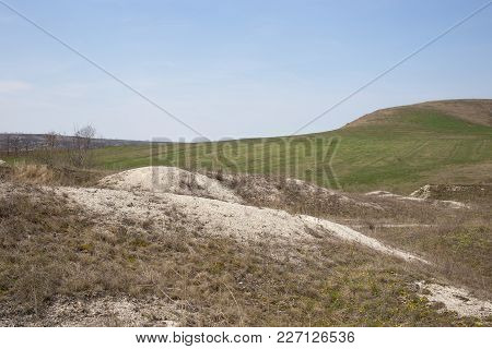 Beautiful Valley With Limestone Minerals. There Is Early Spring On This Image.