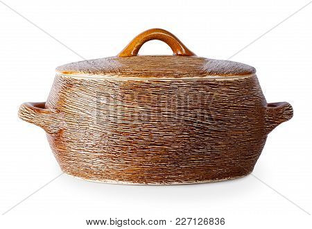 Clay Saucepan Isolated On White Background. Ceramic Kitchenware. Earthenware Pot