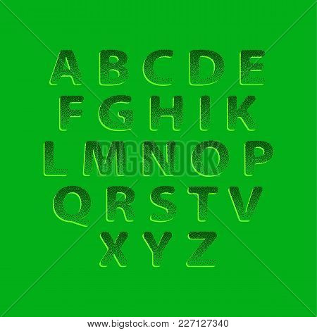 Dotting Halftone Green Embossing Font On A Green Background