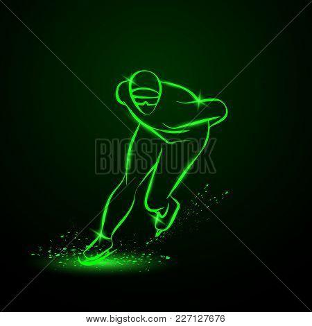 Speed Skater. Green Neon Winter Sport Illustration.