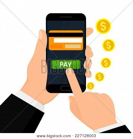 Wireless Payment Illustration. Money Transaction, Business, Mobile Banking And Mobile Payments.