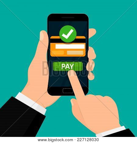 Wireless Payment Processing. Credit Card On Smartphone Screen. Money Transaction. Vector Illustratio