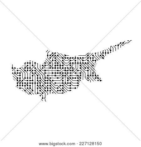Abstract Schematic Map Of Cyprus From The Black Printed Board, Chip And Radio Component Of Vector Il