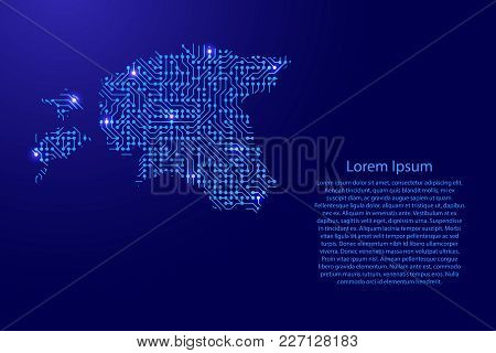 Map Estonia From Printed Board, Chip And Radio Component With Blue Star Space On The Contour For Ban