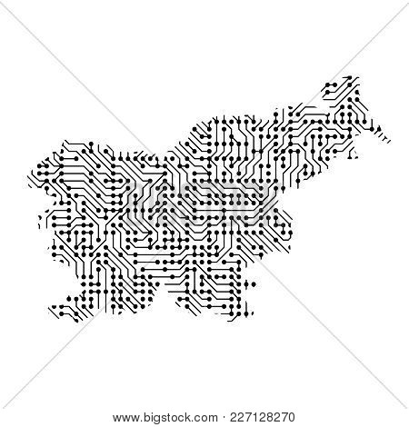 Abstract Schematic Map Of Slovenia From The Black Printed Board, Chip And Radio Component Of Vector