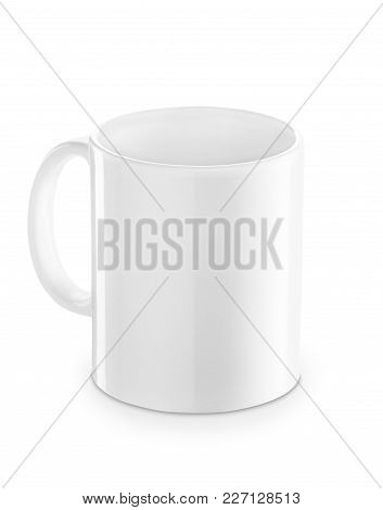 White Mug Isolated On White Background. Clipping Path. Blank Cup With Space For Brand