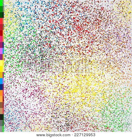 Phagwa Festival Color Confetti Tinsel Sequin Design. Abstract Small Multicolor Sand. Fireworks On Wh